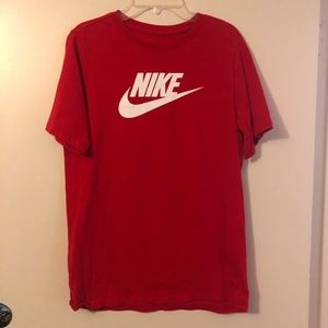 Gently worn red Nike logo T-shirt. Youth XL